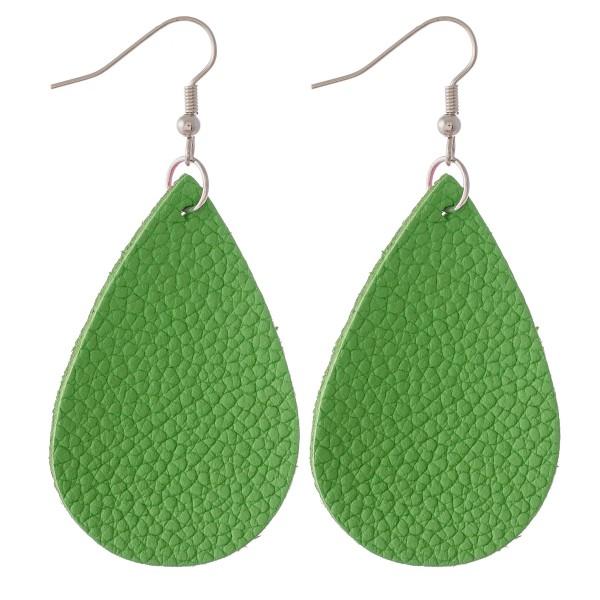 """Solid Faux Leather Teardrop Earrings.  - Approximately 2.75"""" L"""