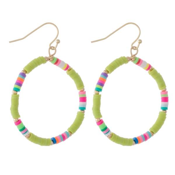 """Rubber Heishi Beaded Drop Earrings.  - Approximately 2"""" L - 1.5"""" in diameter"""