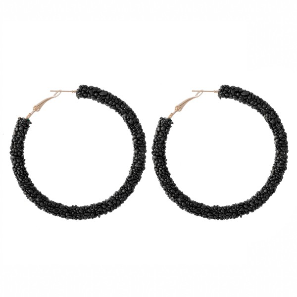 "Seed Beaded Statement Hoop Earrings.  - Approximately 2.5"" in diameter"