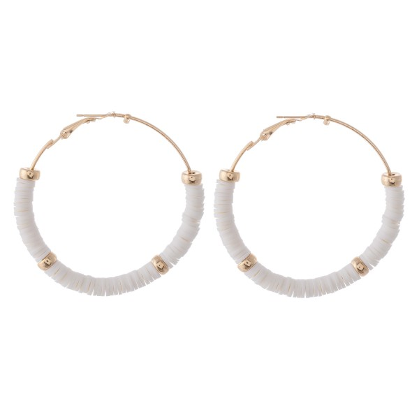 "Rubber Heishi Beaded Hoop Earrings Featuring Gold Bead Accents.  - Approximately 2"" in diameter"