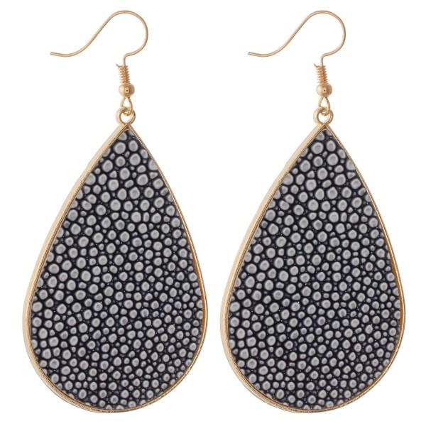 """Pebble faux leather encased statement teardrop earrings.  - Approximately 3"""" L"""