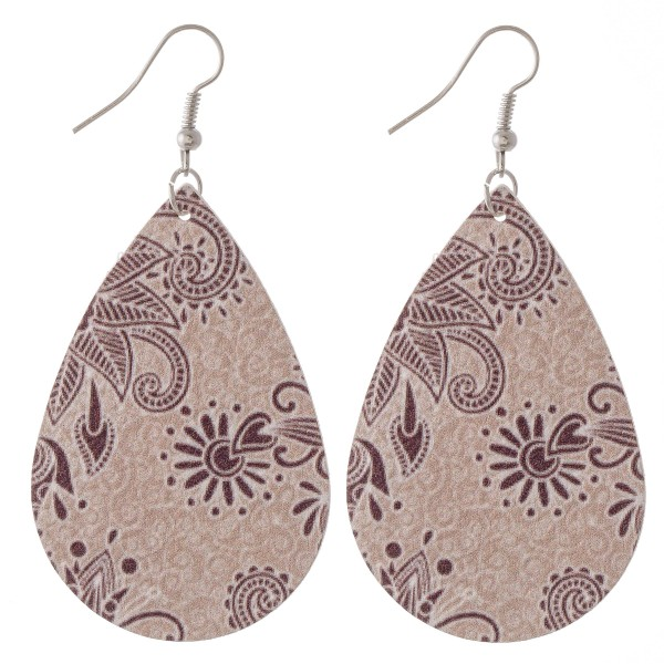 """Floral paisley faux leather teardrop earrings.  - Approximately 3"""" L"""