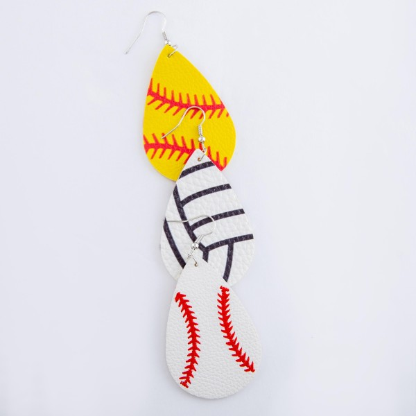 "Softball faux leather teardrop earrings.  - Approximately 3"" L"