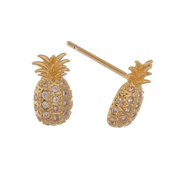 Gold dipped dainty rhinestone pineapple stud earrings.  - Approximately 1cm