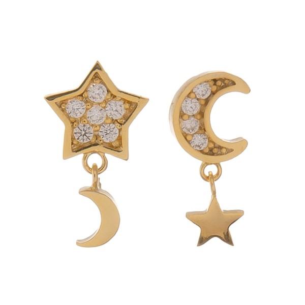 "Gold dipped dainty rhinestone moon & star dangle stud earrings.  - Approximately .5"" L"