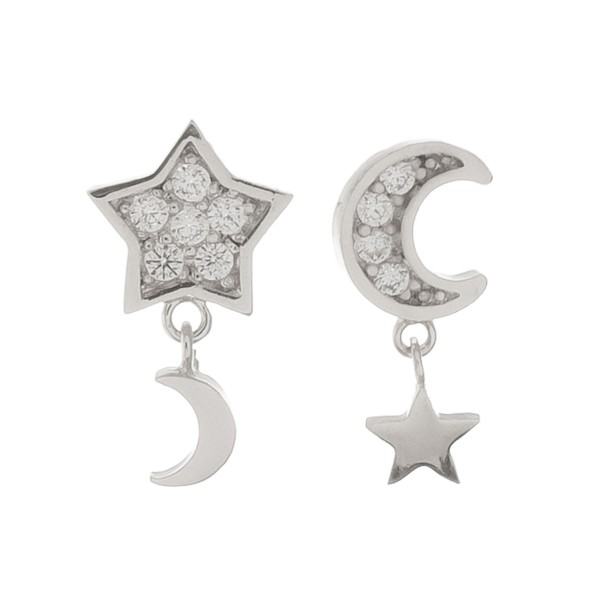 """White Gold dipped dainty rhinestone moon & star dangle stud earrings.  - Approximately .5"""" L"""