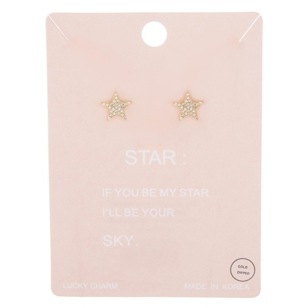 Gold dipped rhinestone star stud earrings.  - Approximately 1cm
