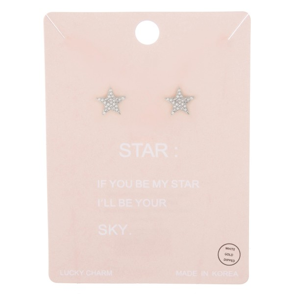 White Gold dipped rhinestone star stud earrings.  - Approximately 1cm