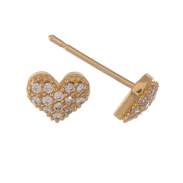 Gold dipped dainty rhinestone heart stud earrings.  - Approximately 5mm
