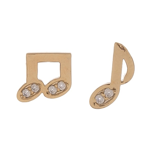 Gold dipped rhinestone music note mix match stud earrings.  - Approximately 1cm