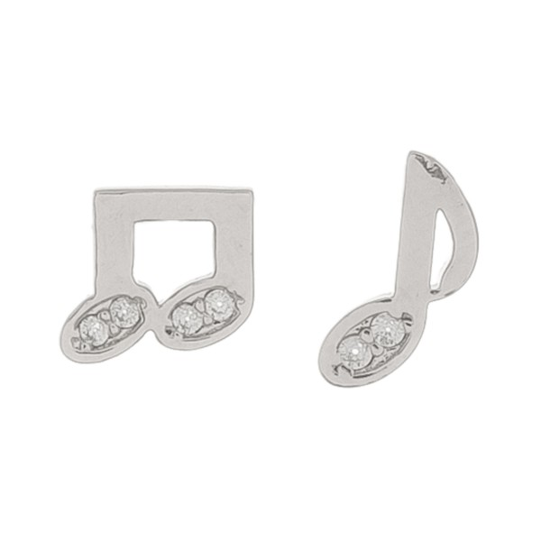 White Gold dipped rhinestone music note mix match stud earrings.  - Approximately 1cm