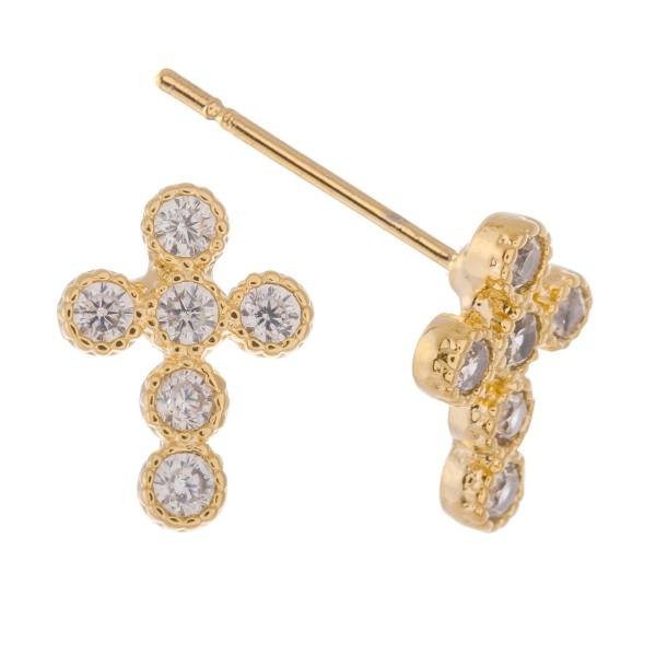 Dainty Rhinestone Cross Earrings.  - Approximately 1cm
