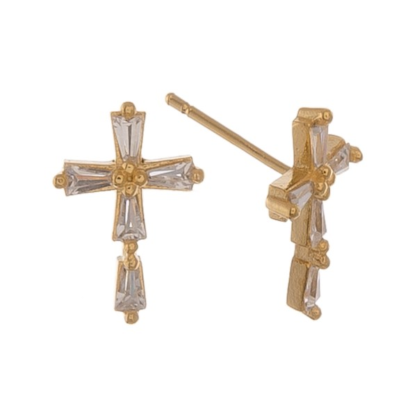 """Gold Dipped Clear Rhinestone Cross Stud Earrings.  - Approximately .5"""""""