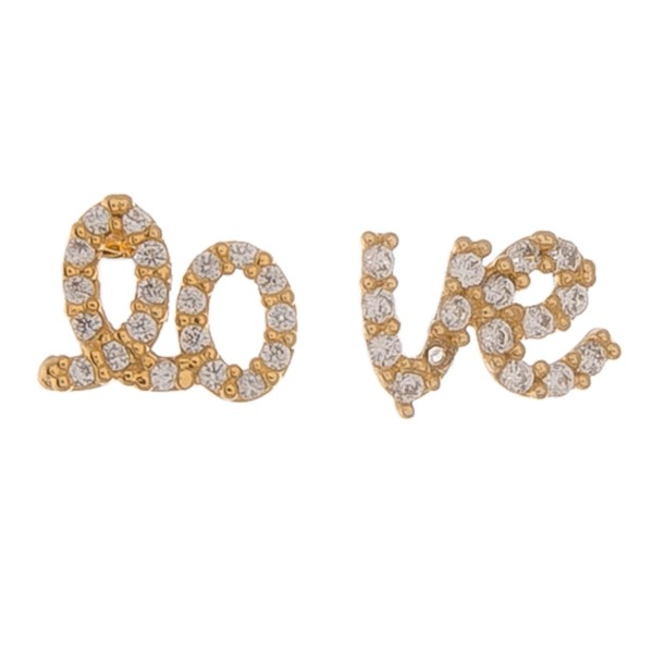 """Gold dipped dainty rhinestone """"lo-ve"""" stud earrings.  - Approximately 1cm"""