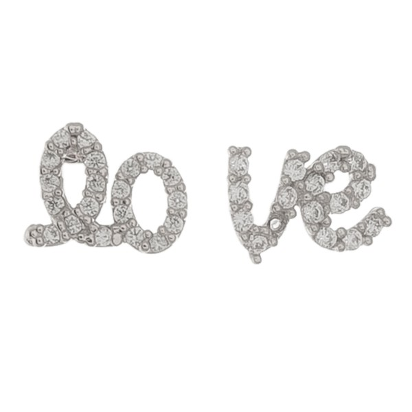 """White Gold dipped dainty rhinestone """"lo-ve"""" stud earrings.  - Approximately 1cm"""