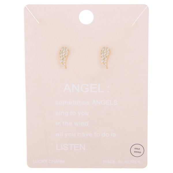 """Gold dipped rhinestone angel wing stud earrings.  - Approximately .5"""" L"""