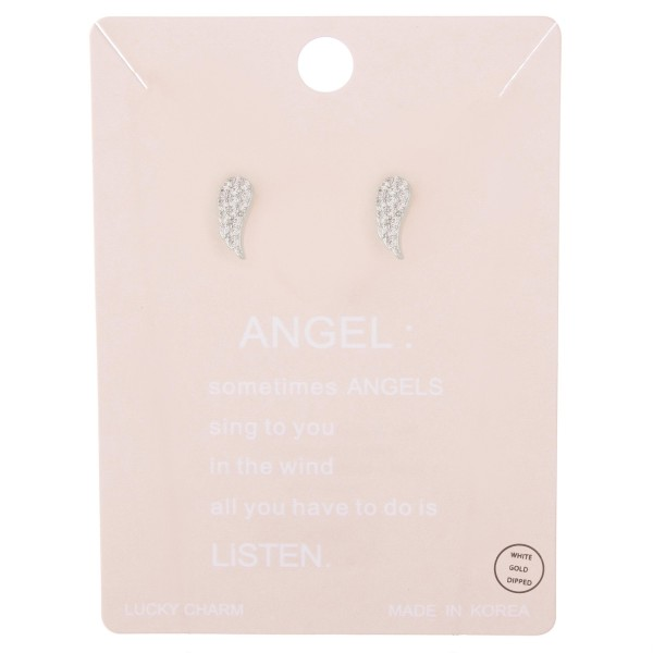 """White Gold dipped rhinestone angel wing stud earrings.  - Approximately .5"""" L"""