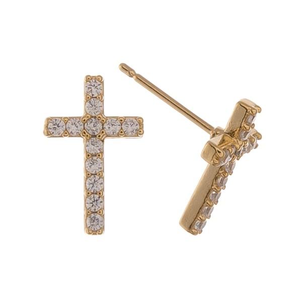 "Gold Dipped Rhinestone Cross Stud Earrings.  - Approximately .5"""
