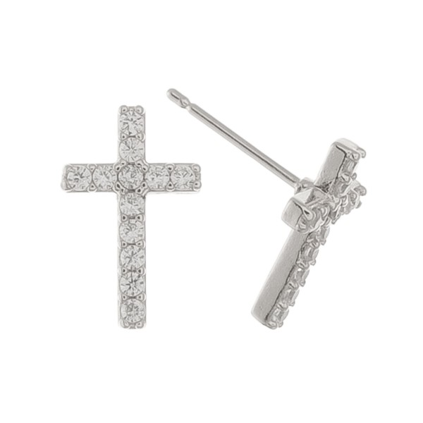 """White Gold Dipped Rhinestone Cross Stud Earrings.  - Approximately .5"""""""