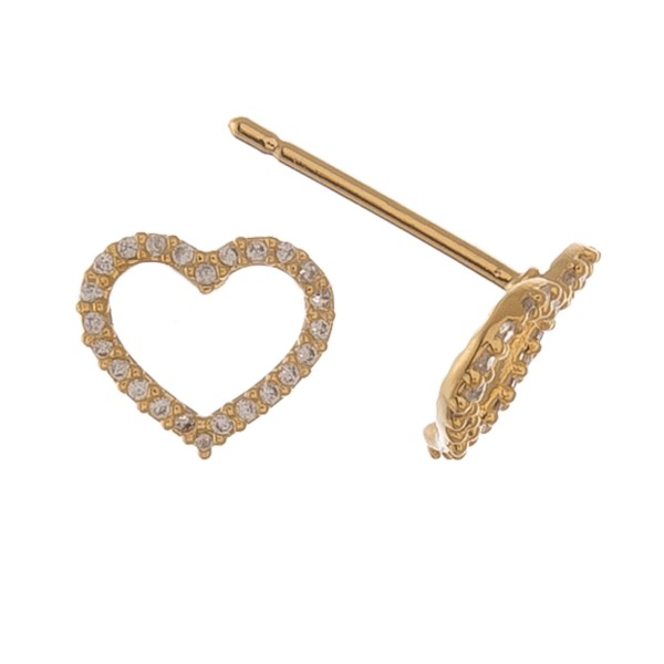 Gold dipped dainty rhinestone open heart stud earrings.  - Approximately 1cm
