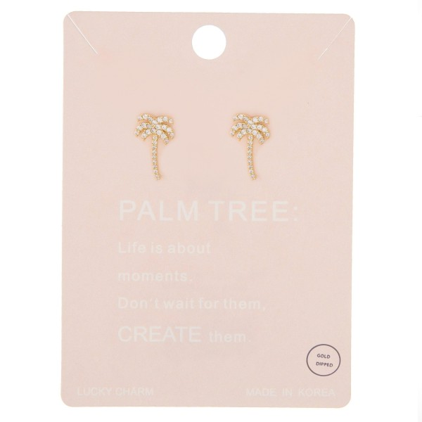"""Gold dipped rhinestone palm tree stud earrings.  - Approximately .5"""" L"""