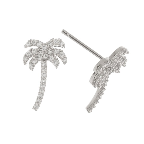 """White Gold dipped rhinestone palm tree stud earrings.  - Approximately .5"""" L"""