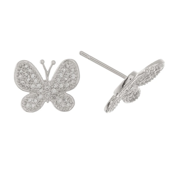 White Gold dipped rhinestone butterfly stud earrings.  - Approximately .5""