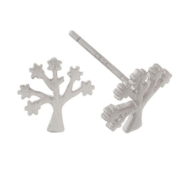 White Gold dipped Tree of Life stud earrings.  - Approximately 1cm