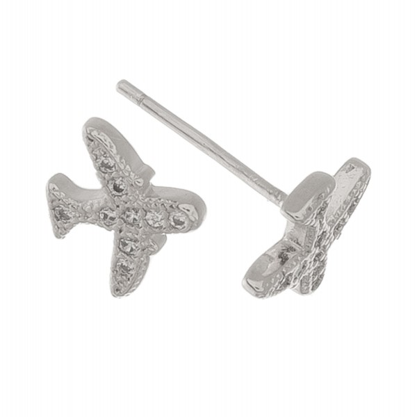 White Gold dipped dainty rhinestone airplane stud earrings.  - Approximately 6mm