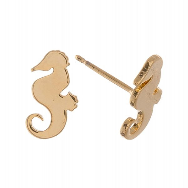 Gold dipped seahorse stud earrings.  - Approximately 1cm