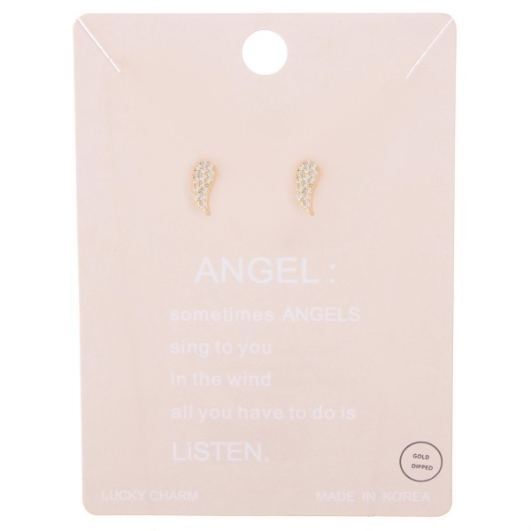 Gold dipped dainty rhinestone angel wing stud earrings.  - Approximately 1cm L