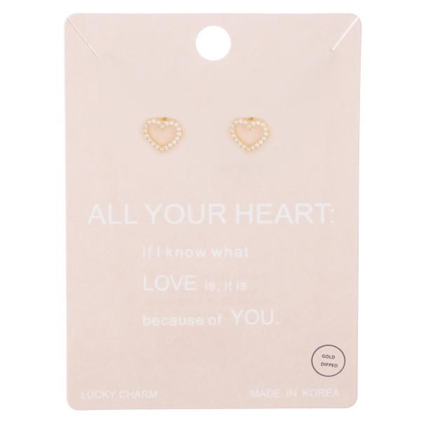 Gold dipped rhinestone open heart stud earrings.  - Approximately 1cm