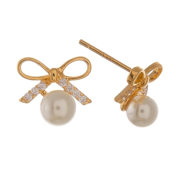 Gold dipped rhinestone bow pearl stud earrings.  - Approximately 1cm
