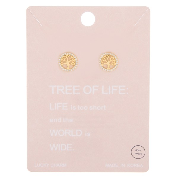 Gold dipped rhinestone Tree of Life stud earrings.  - Approximately 1cm in diameter