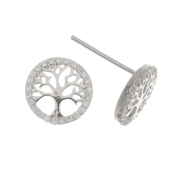 White Gold dipped rhinestone Tree of Life stud earrings.  - Approximately 1cm in diameter