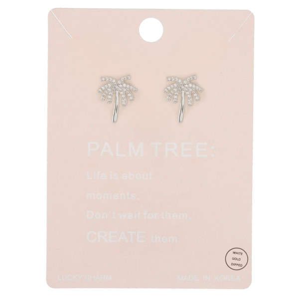 """White Gold dipped rhinestone palm tree stud earrings.  - Approximately .75"""" L"""