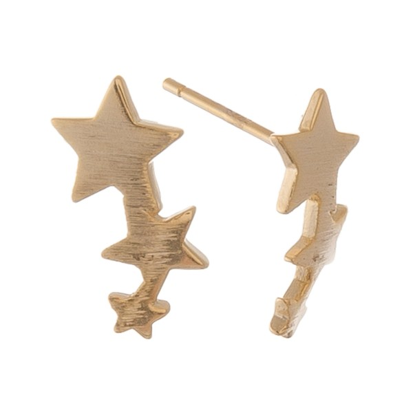 Wholesale gold dipped dainty star ear climber stud earrings L