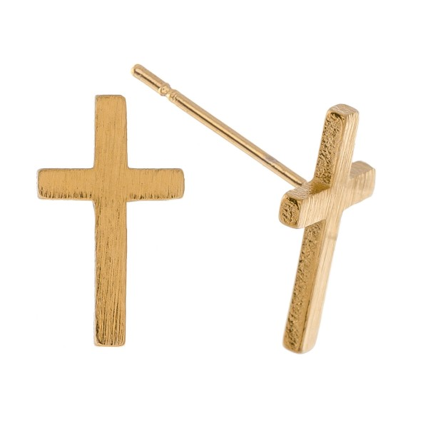 Gold Dipped Cross Stud Earrings.  - Approximately 12mm L