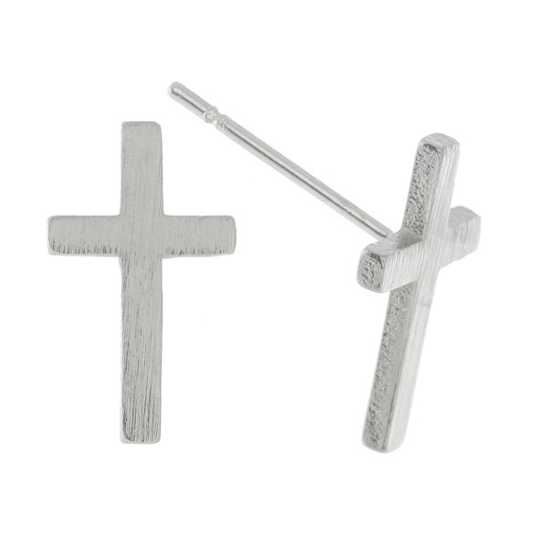 Wholesale white Gold Dipped Cross Stud Earrings mm L