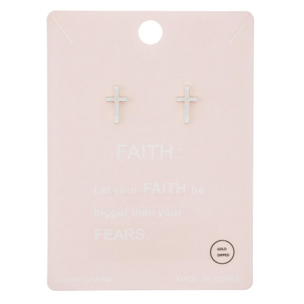 White Gold Dipped Cross Stud Earrings.  - Approximately 12mm L