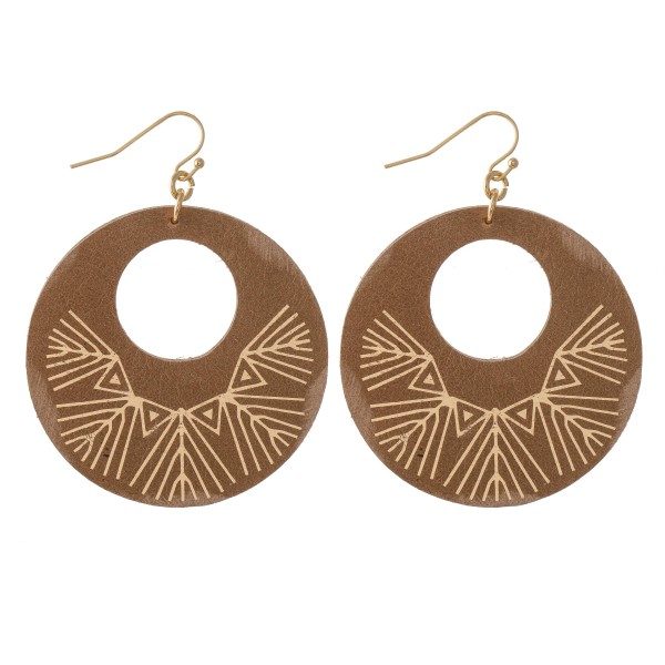 "Retro Faux Leather Metallic Tribal Print Drop Earrings.  - Approximately 2.5"" L - 2"" in diameter"