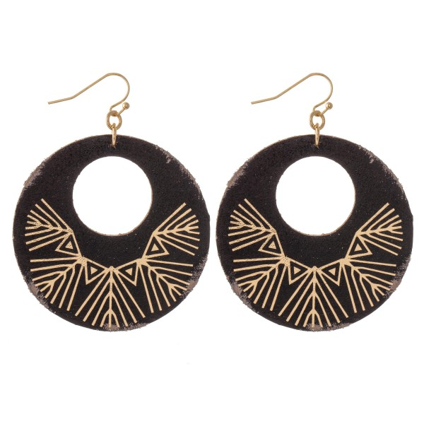 Wholesale retro Faux Leather Metallic Tribal Print Drop Earrings L diameter