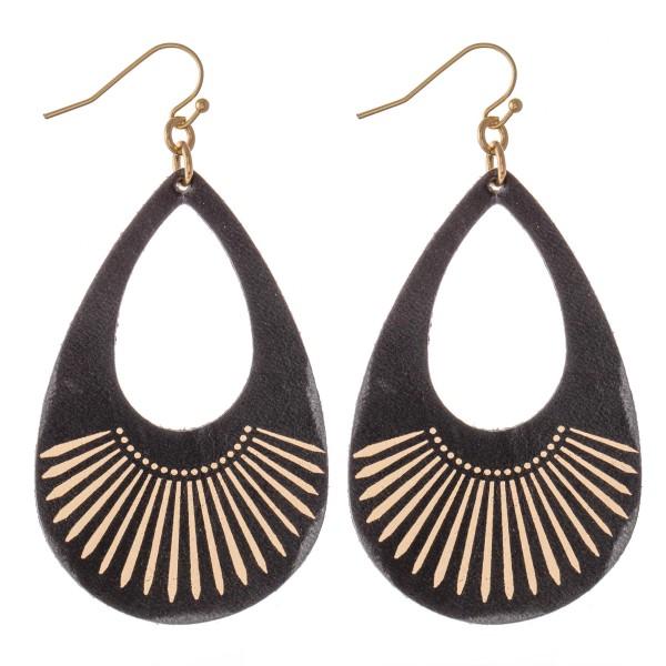 """Retro Faux Leather Metallic Tribal Print Teardrop Earrings.  - Approximately 2.75"""" L"""