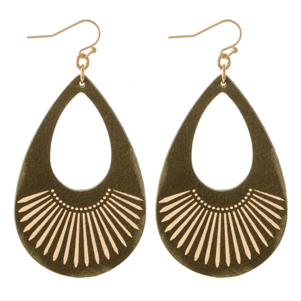 "Retro Faux Leather Metallic Tribal Print Teardrop Earrings.  - Approximately 2.75"" L"