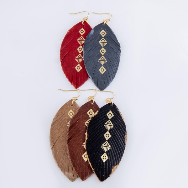 """Faux Leather Metallic Tribal Print Feather Statement Earrings.  - Approximately 3"""" L"""