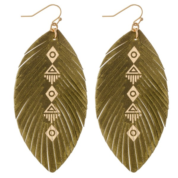 "Faux Leather Metallic Tribal Feather Statement Earrings.  - Approximately 3"" L"
