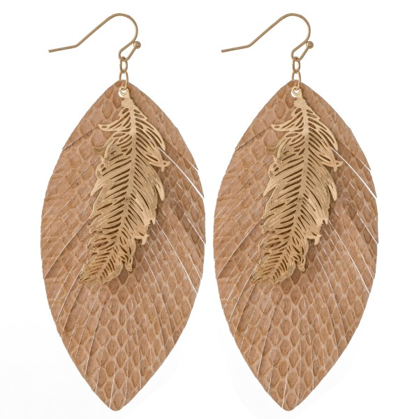 "Faux Leather Snakeskin Statement Earrings with Filigree Feather Accent.  - Approximately 3"" L"