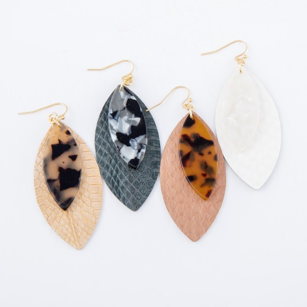 """Faux Leather Snakeskin Drop Earrings with Resin Accent.  - Approximately 3"""" L"""