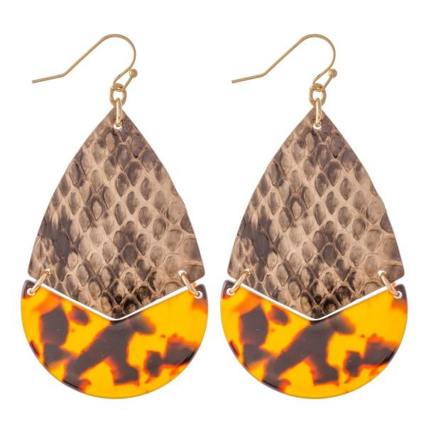 """Faux Leather Snakeskin Resin Hinge Teardrop Earrings.  - Approximately 2.5"""" L"""
