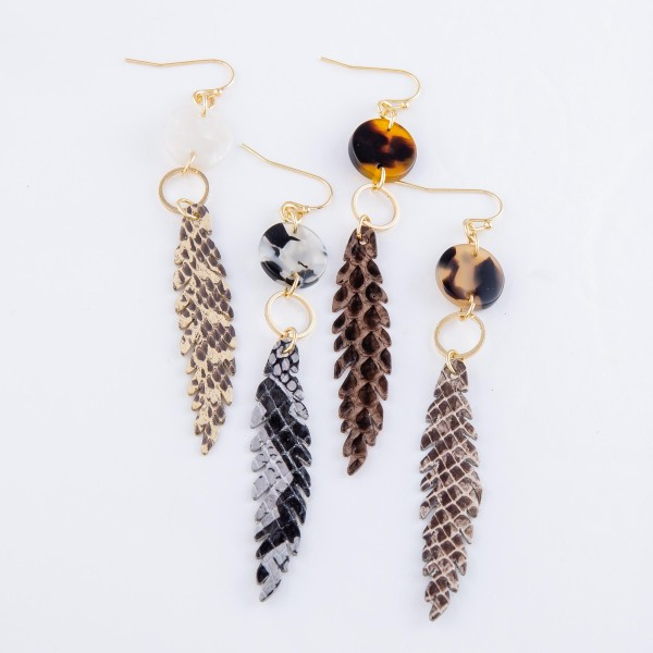"Skinny Snakeskin Feather Drop Earrings Featuring Resin Accent.  - Approximately 3.75"" L"